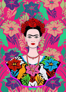 Frida Kahlo vector portrait , young beautiful mexican woman with a traditional hairstyle,  Mexican crafts jewelry and dress, vector isolated or floral background