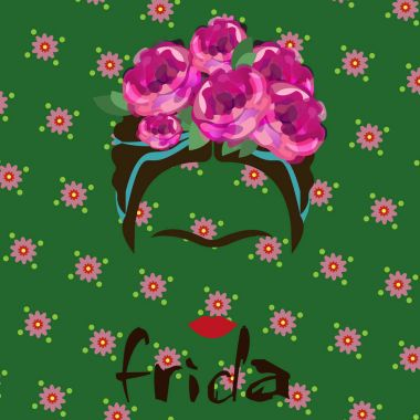 portrait of Frida Kahlo, vector illustration isolated, portrait of modern Mexican or Spanish woman, drawing style, green floral background