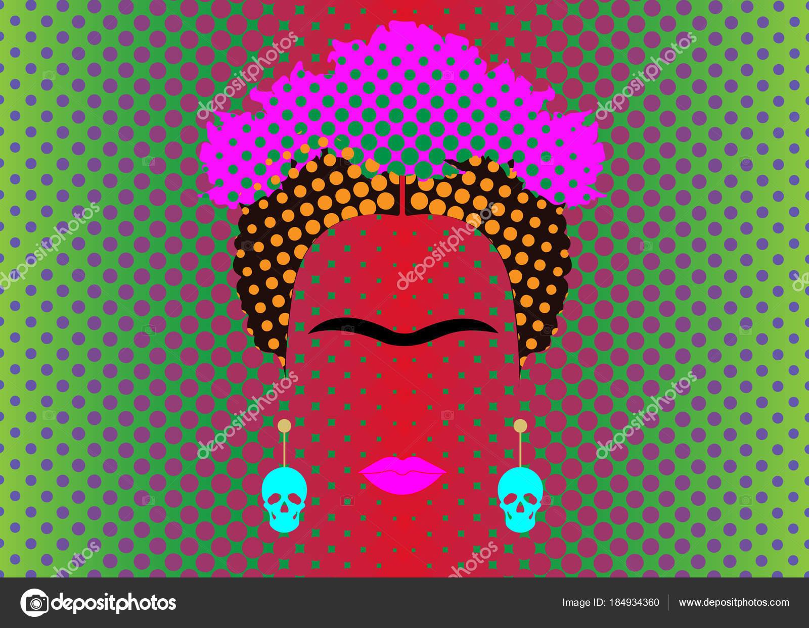 Retrato de frida kahlo vector con cr neos de aretes for Cuartos decorados de frida kahlo