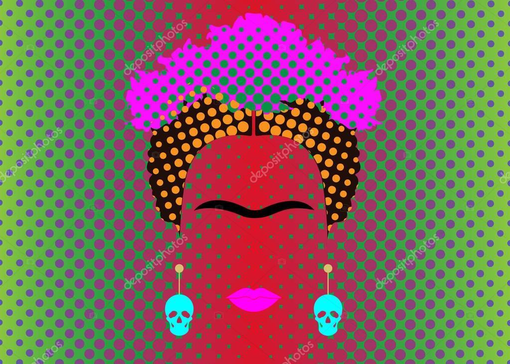Frida Kahlo vector portrait with earrings skulls, Pop Art Style