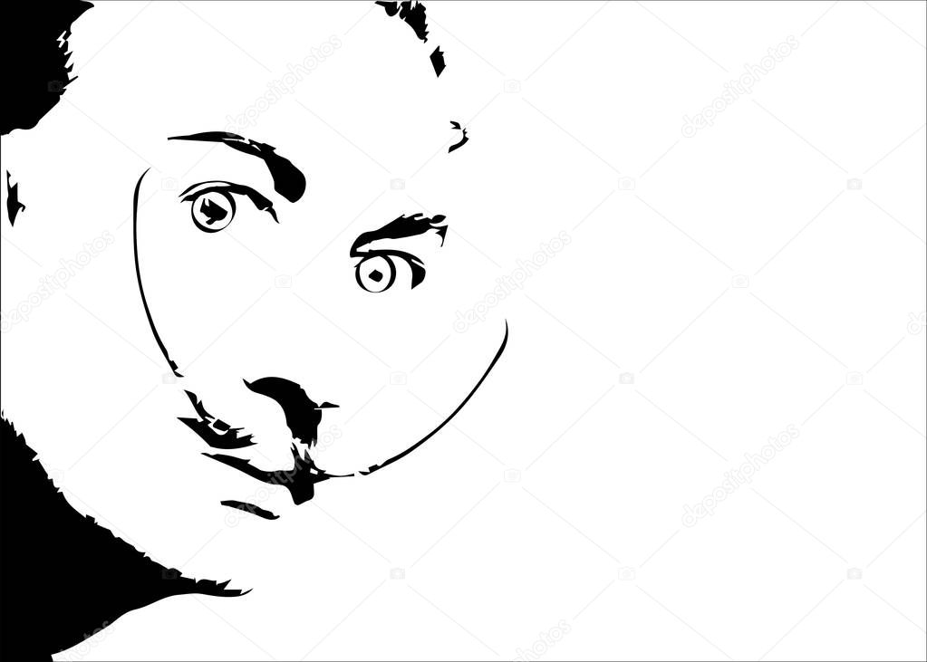 Salvador Dali' vector portrait, minimal graphics isolated or white background