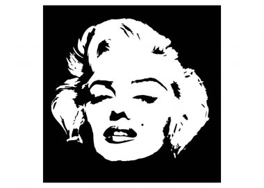 Marilyn Monroe vector graphic portrait, diva icon black background