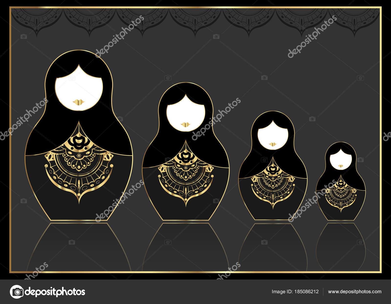 Matroschka gold set Symbol Luxus russische Verschachtelung Puppe mit ...