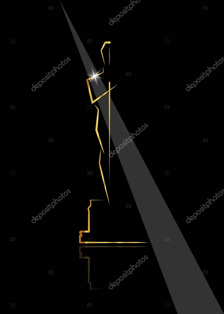 vector illustration abstract golden people logo icon, black background