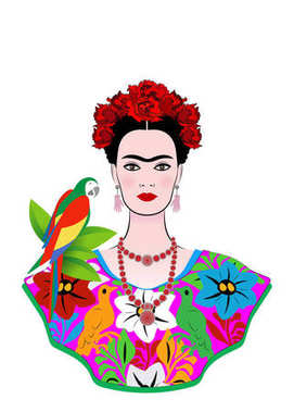 Frida Kahlo vector portrait with parrot, young beautiful mexican woman with a traditional hairstyle,  Mexican crafts jewelry and dress, vector isolated or white background