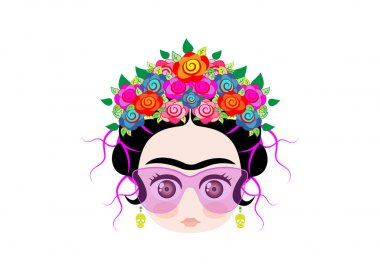 Emoji baby frida kahlo  with crown of colorful flowers and glasses , vector illustration isolated