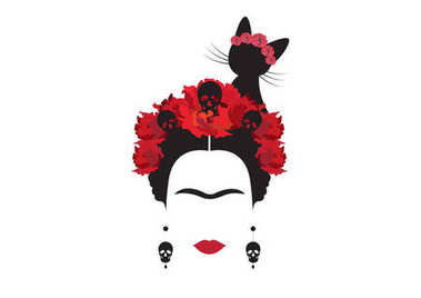 Frida Kahlo minimalist portrait with earrings skulls,  red flowers and  black cat, vector isolated or white background