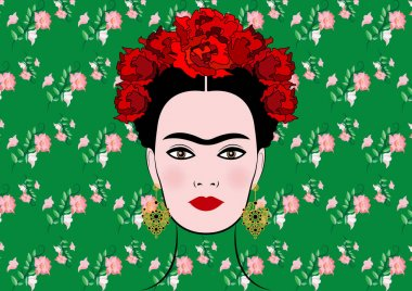 Frida Kahlo vector portrait , young beautiful mexican woman with a traditional hairstyle, isolated or floral background