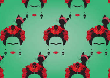 Graphic representation of Frida Kahlo's background,  minimalist vector portrait with earrings skulls,  red flowers and  black cat