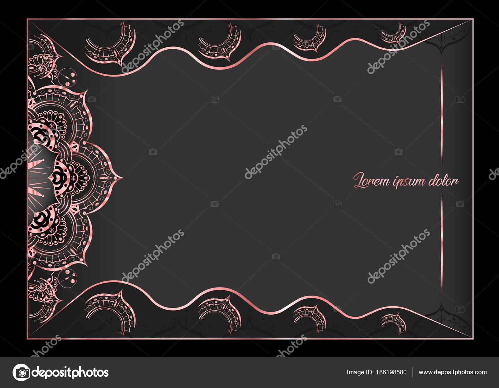 Tarjeta de felicitación vintage del color rosa oro sobre fondo negro ...