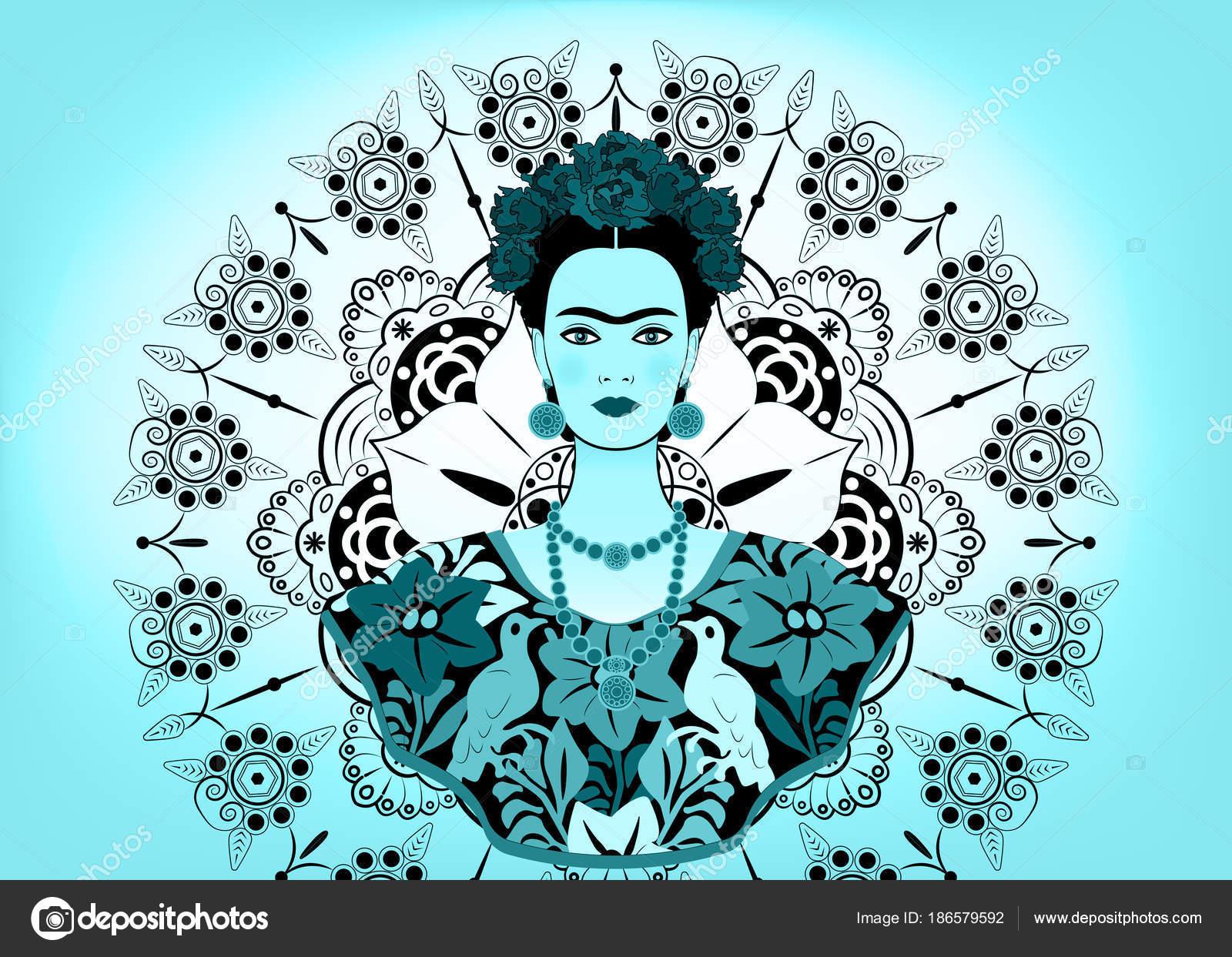 Imagenes De Frida Kahlom Para Colorear: Retrato De Vector De Frida Kahlo, Mujer Mexicana Hermosa