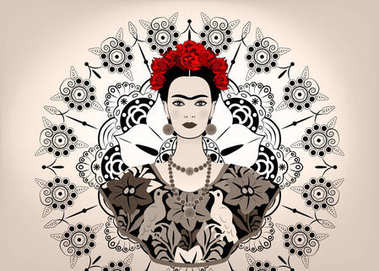 Frida Kahlo vector portrait , young beautiful mexican woman with a traditional hairstyle,  Mexican crafts jewelry and dress, vector isolated or decorated mandala background , monochrome style