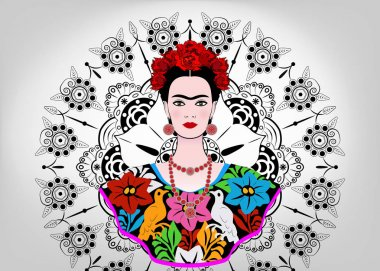 Frida Kahlo vector portrait , young beautiful mexican woman with a traditional hairstyle,  Mexican crafts jewelry and dress, vector isolated or decorated mandala background