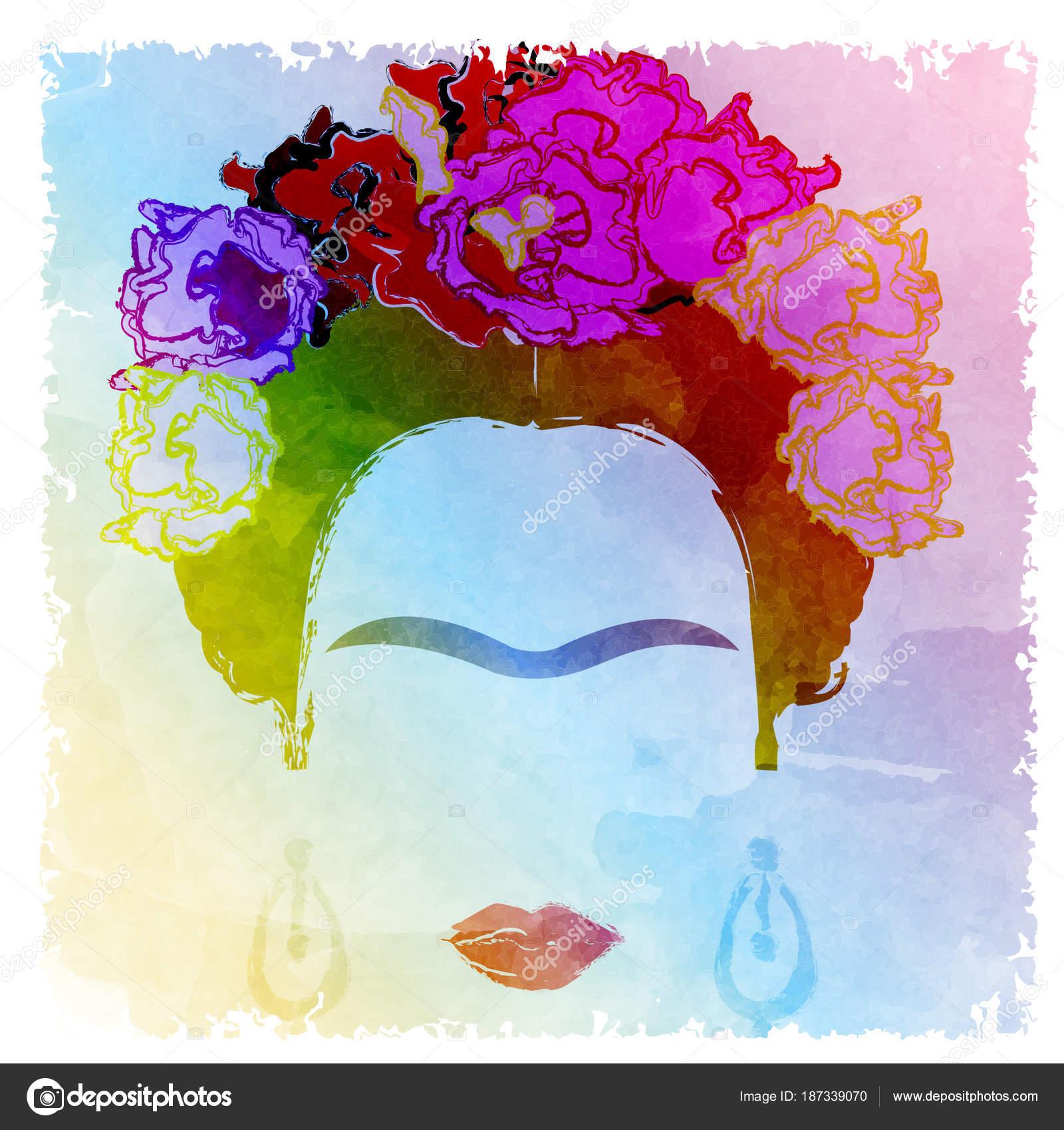 Retrato de Frida Kahlo vector, estilo acuarela, dibujo en la pared ...