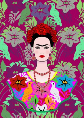 February 26, 2018: Graphic representation of Frida Kahlo's portrait. Editorial use only