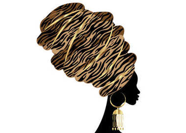 Portrait beautiful African woman in traditional turban, Kente head wrap, dashiki printing, black afro women vector silhouette Africa batik ethnic zebra decoration Brown color cloth, hairstyle concept. Vector isolated or white background clip art vector