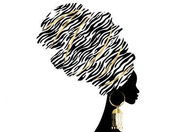 Vector Portrait beautiful African woman in traditional turban, Kente head wrap, dashiki printing, black afro women vector silhouette Africa batik, ethnic zebra decoration cloth, hairstyle concept logo clip art vector