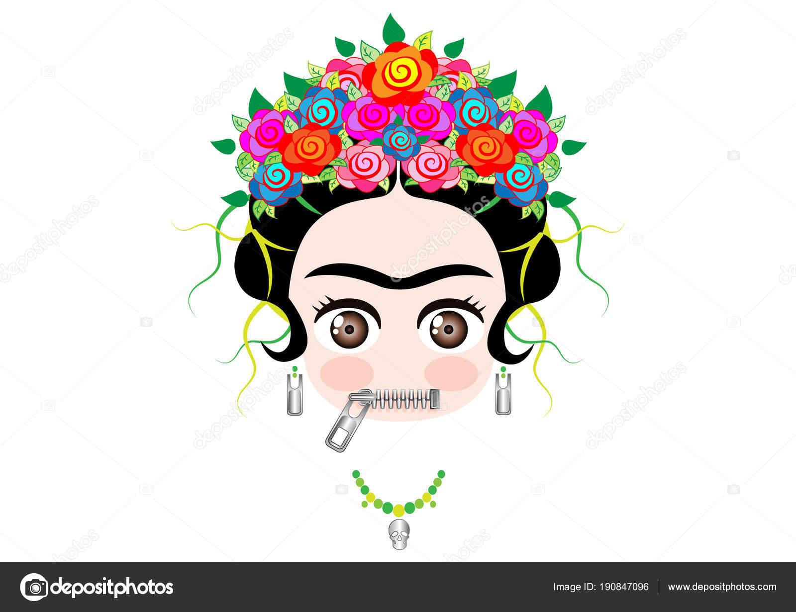 Frida Kahlo Para Dibujar: Emoji Bebé Frida Kahlo Con La Corona Y Del Vector De