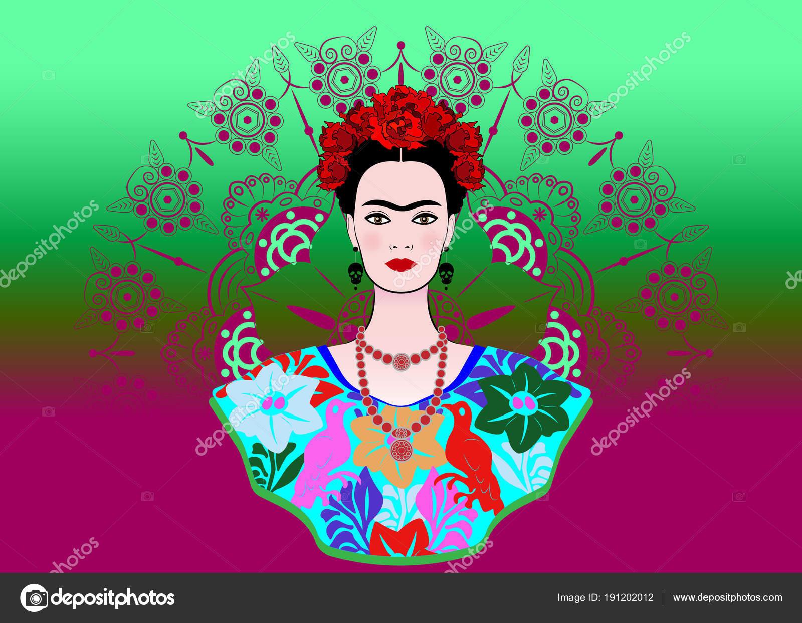 d9388f3723 Retrato de vector de Frida Kahlo