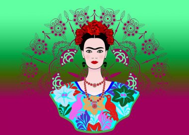 Frida Kahlo vector portrait , young beautiful mexican woman with a traditional hairstyle. Crown of red flowers, mexican crafts jewelry and dress, vector decorated mandala background