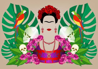 Frida Kahlo and parrots, skulls. Vector portrait isolated and floral green background
