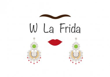 Frida Kahlo vector portrait , young beautiful mexican woman with a traditional  Mexican crafts earrings jewelry, with text : W La Frida , vector isolated