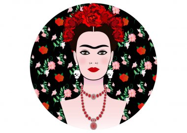 Frida Kahlo vector portrait , young beautiful mexican woman with a traditional hairstyle,  Mexican crafts jewelry and earrings skulls, floral background, diadem vector isolated