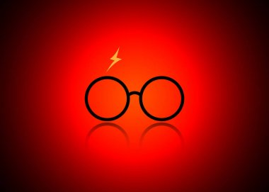 icon of a glasses, Harry Potter style, vector isolated or red vignetting background