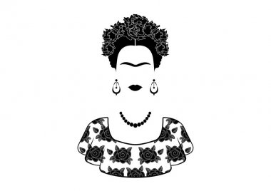 Frida Kahlo vector portrait , young beautiful mexican woman with a traditional hairstyle. Mexican crafts earrings and flowers, Traditional Mexican dress, Vector isolated black and white