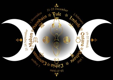 Triple moon Wicca pagan goddess, wheel of the Year is an annual cycle of seasonal festivals. Wiccan calendar and holidays. Compass with spiral goddess of fertility, names in Celtic of the Solstices stock vector