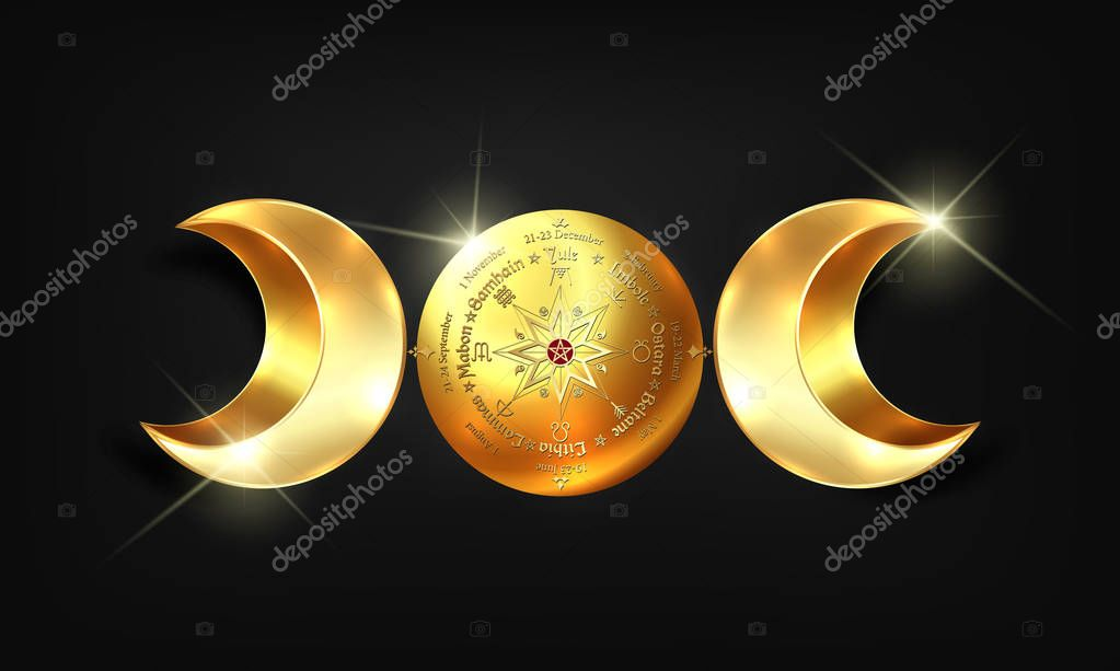 3D gold triple moon Wicca pagan goddess, wheel of the Year is an annual cycle of seasonal festivals. Wiccan calendar and holidays. Compass, middle pentagram symbol, names in Celtic of the Solstices stock vector