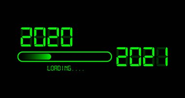 Happy new year 2020 with loading to up 2021. Green led neon digital time style. Progress bar almost reaching new year's eve. Vector illustration with display 2021 loading isolated or black background