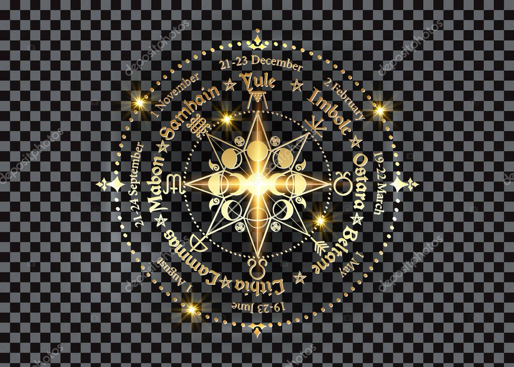 Wheel of the Year is an annual cycle of seasonal festivals. Gold Wiccan calendar and holidays. Compass with triple moon Wicca pagan goddess and moon phases symbol, names in Celtic of the Solstices stock vector