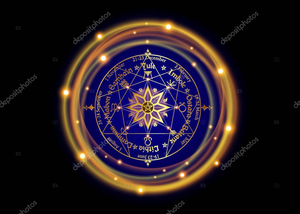 Wheel of the Year is an annual cycle of seasonal festivals, enneagram by many modern Pagans. Wiccan calendar and holidays. Compass with in the middle pentagram symbol, names in Celtic of the Solstices stock vector