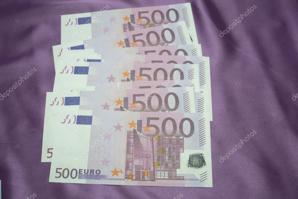 500 Euro notes background texture