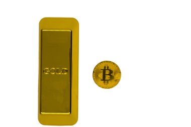 Closeup of a large gold nugget and gold Bitcoin coin on a black background. The cryptocurrency bitcoin. isolate .