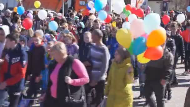 Russia Berezniki-may 01, 2018: PF crowd people have fun at may day outdoor concert in the Park .