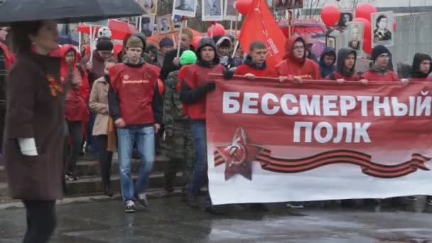 Berezniki Rusko 9. května 2018: podílí se v březnu nesmrtelné pluku během oslav dne vítězství