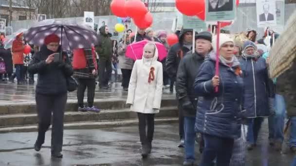 Průvod na počest dne vítězství nad nacistickým útočníky, den památku obětí druhé světové války - Rusko Berezniki 9. května 2018