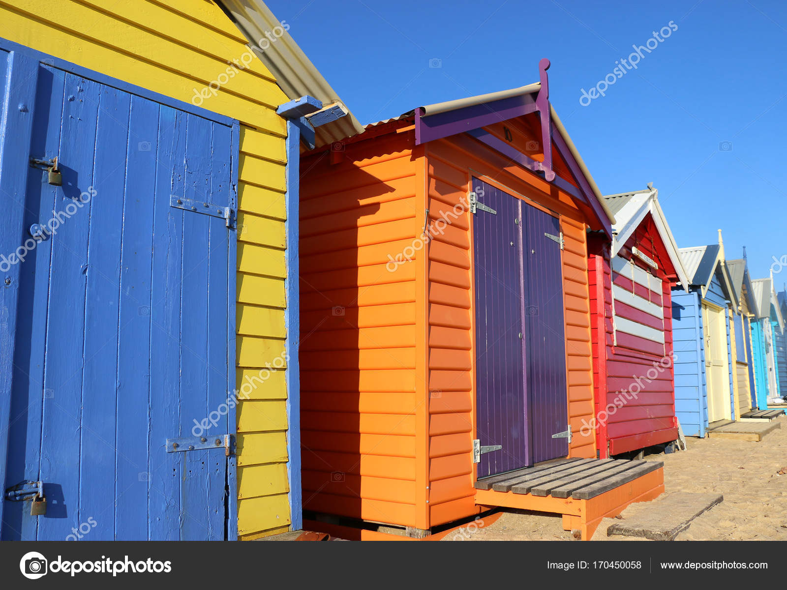 The Colourful Bathing Boxes Of Dendy Street Beach Brighton Have