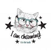 Süße Katze in Brille