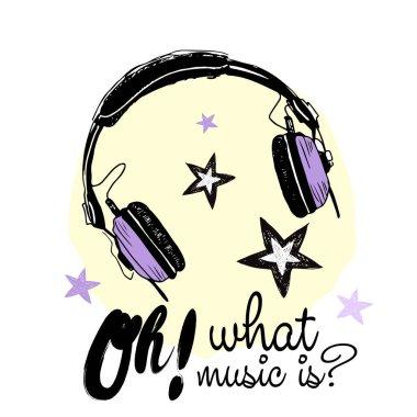 Trendy headphones with inscription