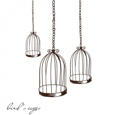 Hand drawn empty bird cages