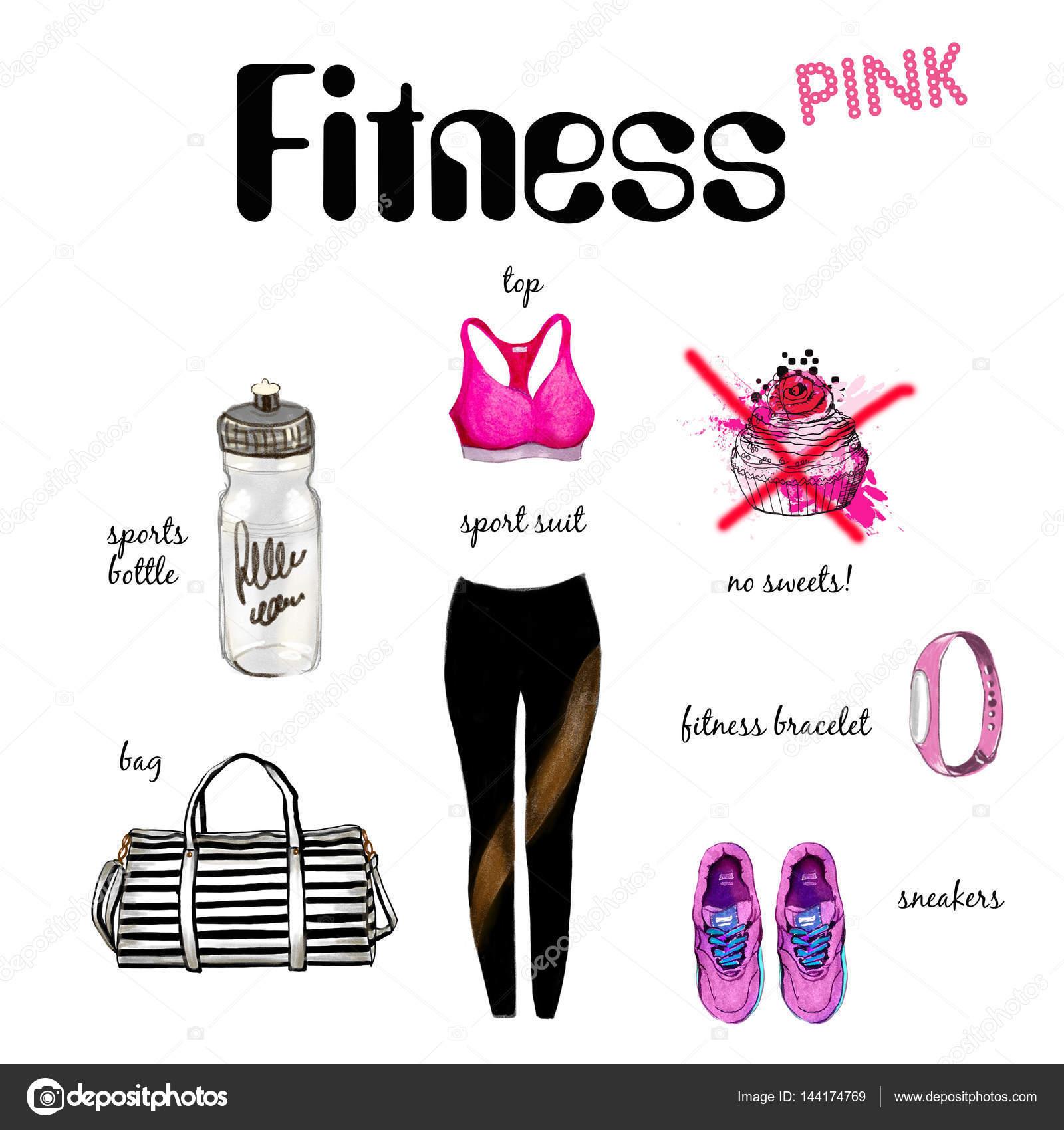 Fitness-Kleidung und Accessoires-Kollektion — Stockfoto © shekaka ...