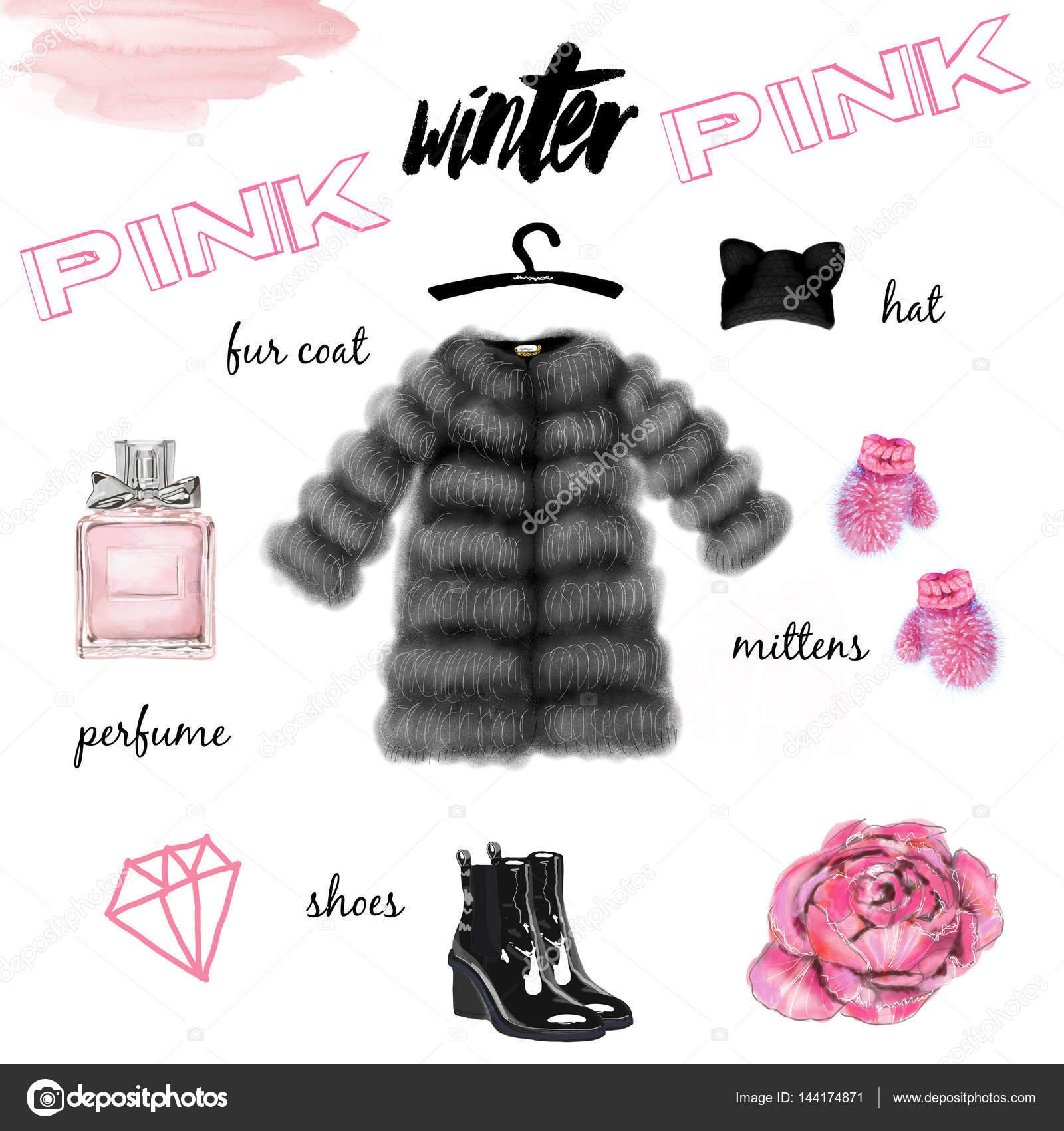 Зимняя коллекция одежды и аксессуаров на белом фоне — Фото автора shekaka 6410287d1c0