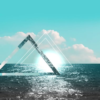 sea and clouds with triangles