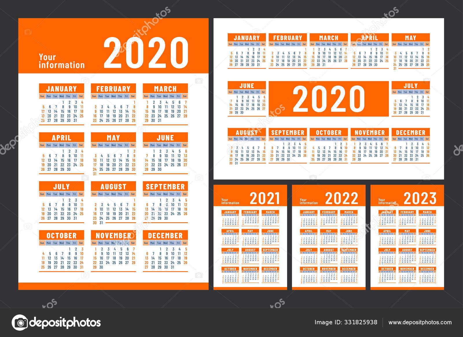 2022 2023 Pocket Calendar.Calendar 2020 2021 2022 2023 English Color Vector Set Wall Vector Image By C Ra Khusnullina Gmail Com14722860aef0a814722860 Vector Stock 331825938