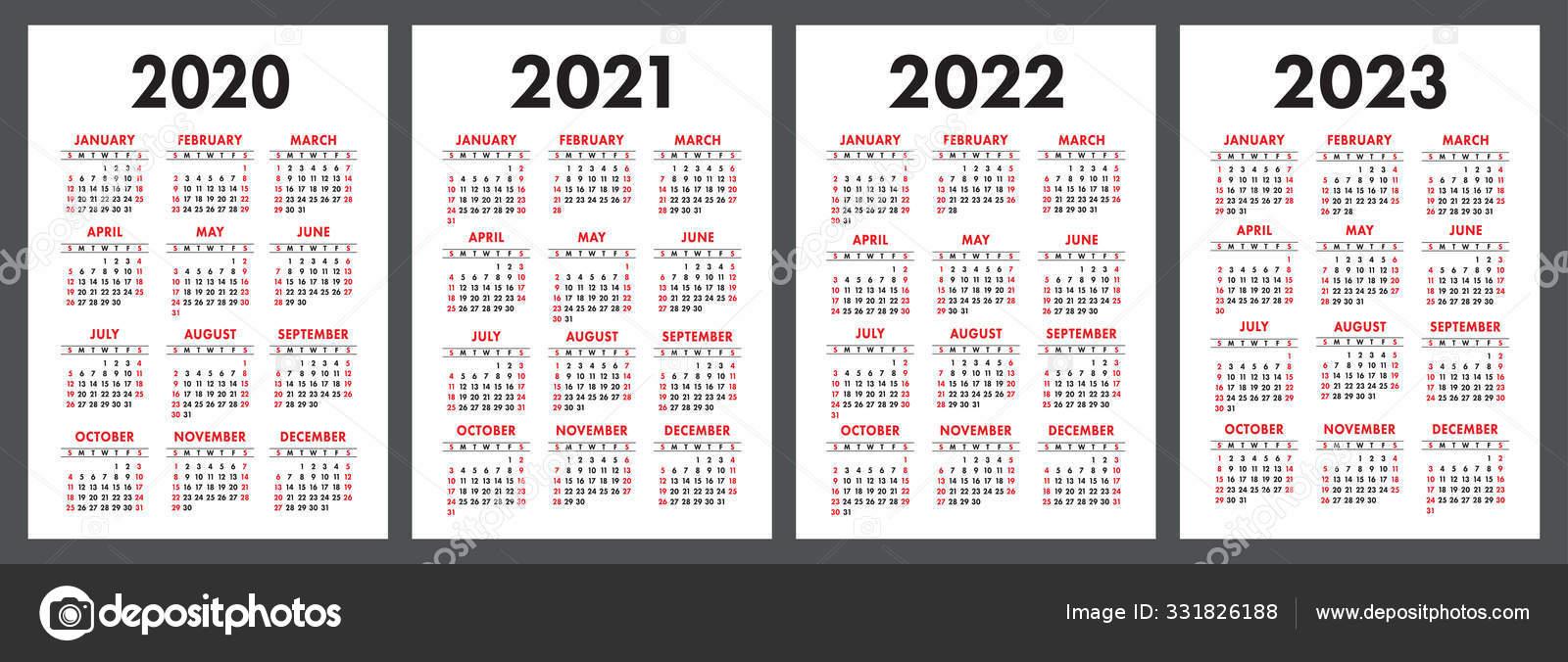 2022 2023 Pocket Calendar.Calendar 2020 2021 2022 2023 English Color Vector Set Vertical Vector Image By C Ra Khusnullina Gmail Com14722860aef0a814722860 Vector Stock 331826188