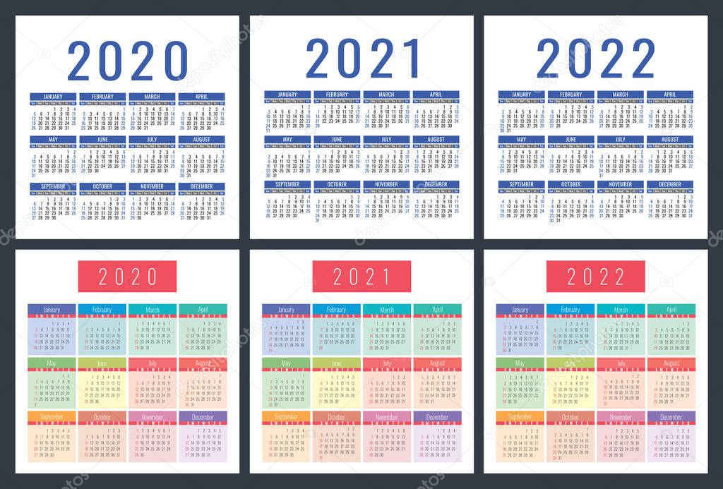 2022 Pocket Calendar.Calendar 2020 2021 2022 Pocket Calender Colorful Set Week Starts On Sunday Basic Grid Premium Vector In Adobe Illustrator Ai Ai Format Encapsulated Postscript Eps Eps Format