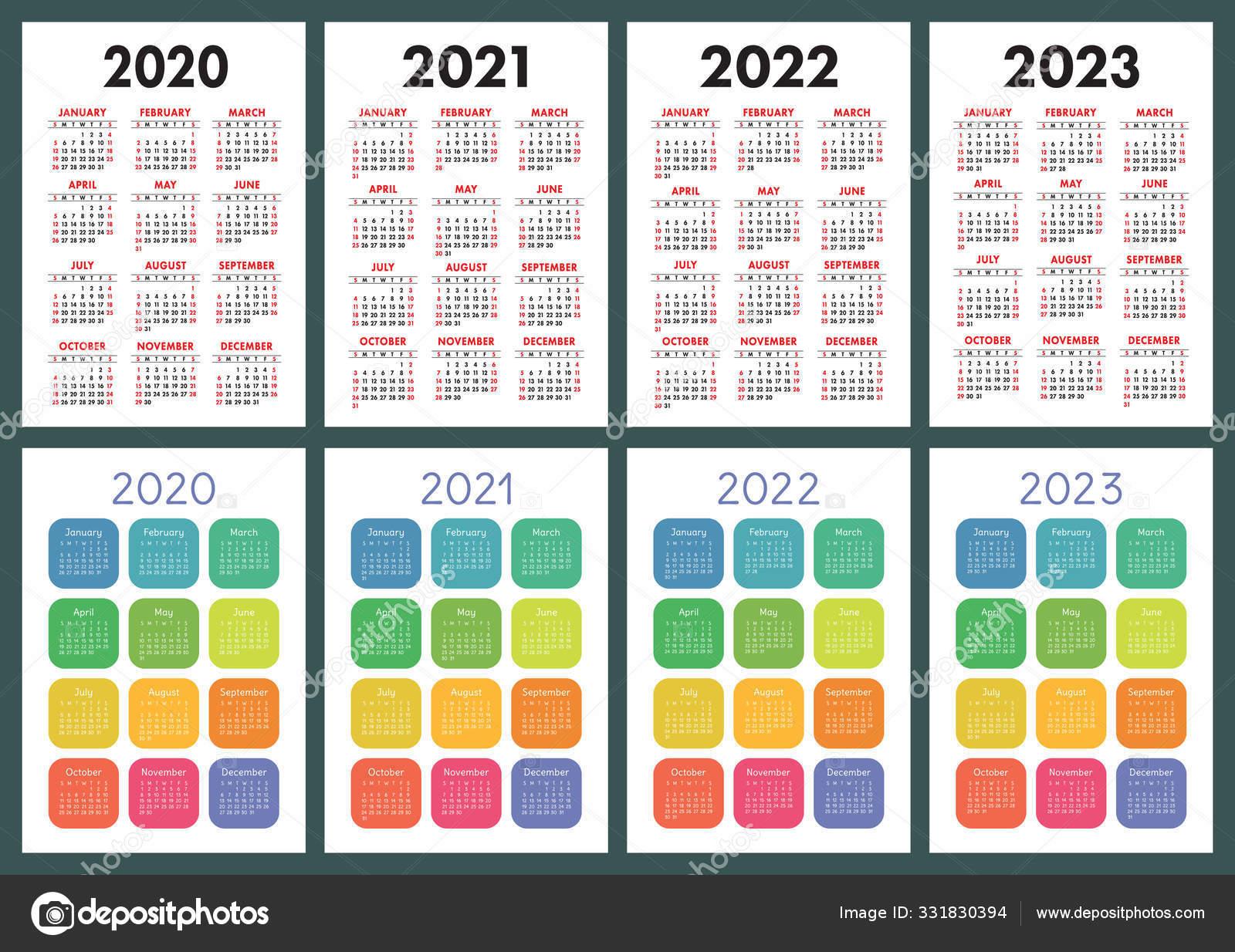 Big Calendar 2022.Calendar 2020 2021 2022 2023 English Color Vector Set Vertical Vector Image By C Ra Khusnullina Gmail Com14722860aef0a814722860 Vector Stock 331830394